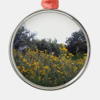 Jardín de la pradera adorno navideño redondo de metal