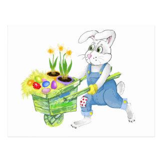 Jardín de la primavera del conejito de pascua postal