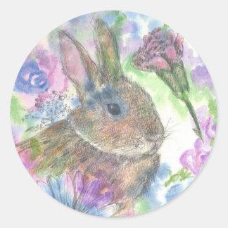 Jardín de la primavera del conejo de Pascua Pegatina Redonda