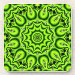 Jardín de la primavera, verde lima abstracta brill posavaso