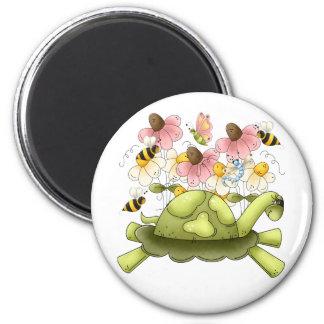 Jardín de la tortuga imán redondo 5 cm
