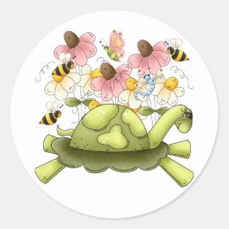Jardín de la tortuga pegatina redonda