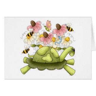 Jardín de la tortuga tarjeta de felicitación