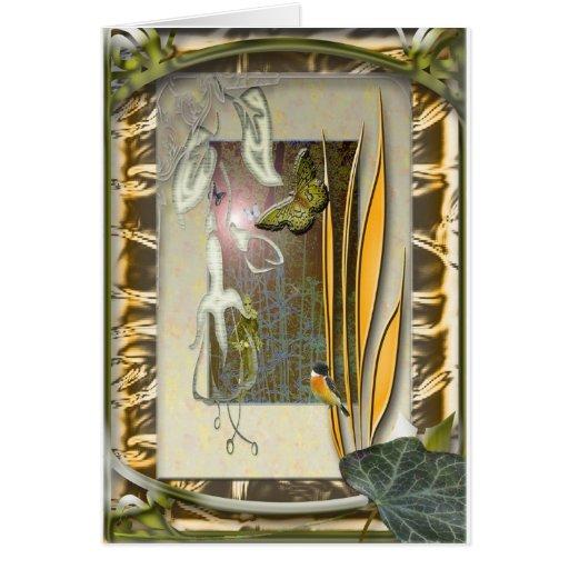 jardín de la verbena con el fucsia tarjetón