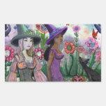 Jardín de las brujas rectangular pegatina