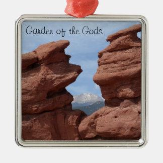 Jardín de los gemelos siameses de dioses adorno navideño cuadrado de metal
