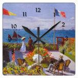 Jardín de Monet en el santo Addresse (St Addresse) Reloj Cuadrado