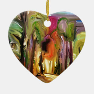 Jardín de neón adorno de cerámica en forma de corazón