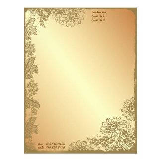 Jardín de oro membrete personalizado