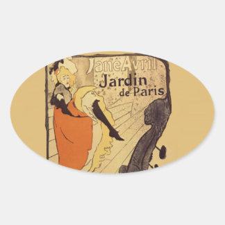 Jardin de Paris - Toulouse-Lautrec Oval Sticker