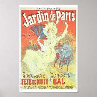 Jardin de Paris Victorian French illustration Poster