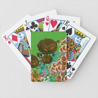 Jardín de rosas del vintage cartas de juego