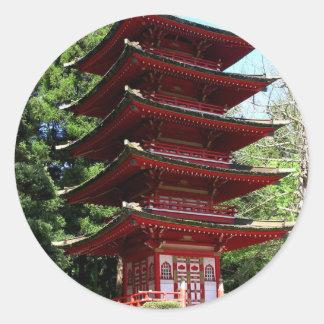 Jardín de té japonés en Golden Gate Park en San Fr Etiquetas Redondas