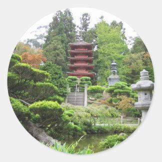Jardín de té japonés pegatinas redondas