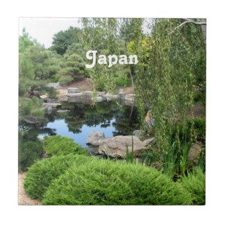 Jardín del agua de Japón Azulejo Cuadrado Pequeño