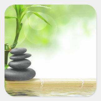 Jardín del agua de la tranquilidad del zen por pegatina cuadrada