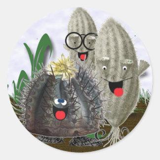 Jardín del cactus pegatina redonda