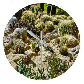 Jardín del cactus reloj redondo grande
