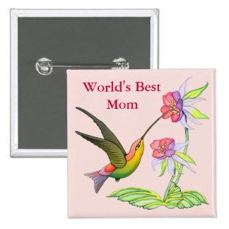 Jardín del colibrí para la mamá pin cuadrado