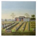 Jardín del cuarto de niños, c.1820-40 (w/c en el p azulejo cuadrado grande