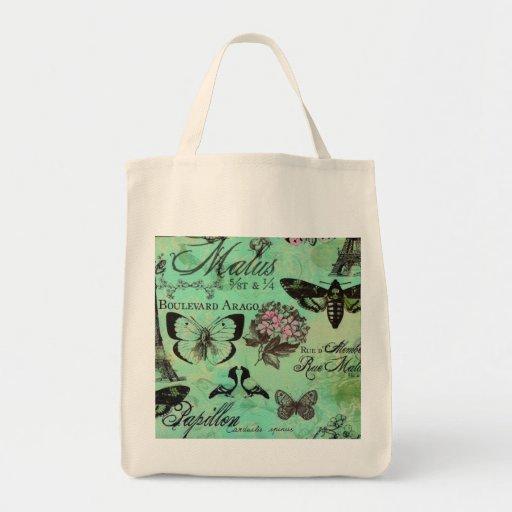 Jardín del francés del jade del tote de Reuseable  Bolsa Tela Para La Compra
