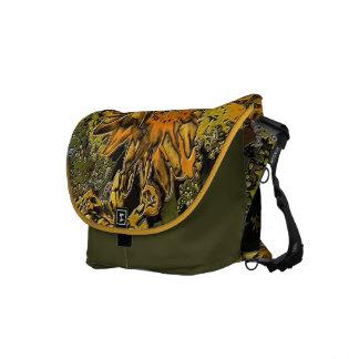 Jardín del girasol en bolsos de piedra pulidos bolsa de mensajeria