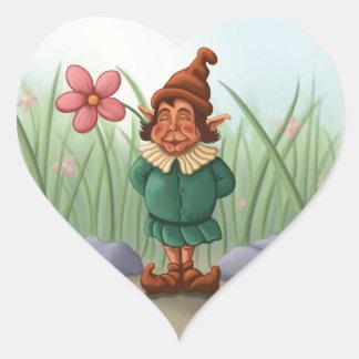 jardín del gnomo de la flor pegatina en forma de corazón