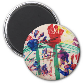 Jardín del handprint de los niños imán redondo 5 cm
