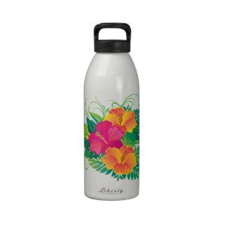 Jardín del hibisco botella de beber