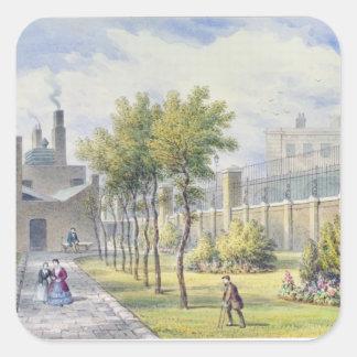 Jardín del hospital de St Thomas Pegatina Cuadrada