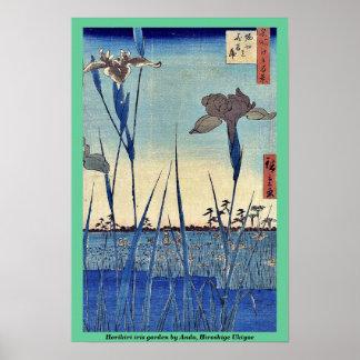 Jardín del iris de Horikiri por Ando, Hiroshige Uk Póster