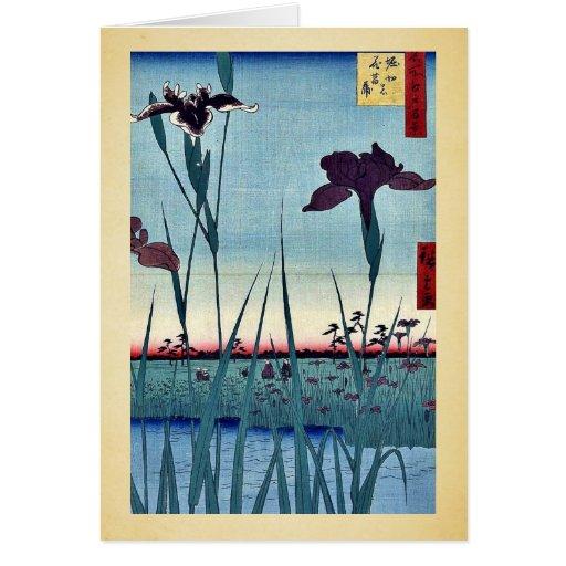Jardín del iris de Horikiri por Andō, Hiroshige Uk Felicitaciones