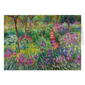 Jardín del iris de Monet en la tarjeta de nota de