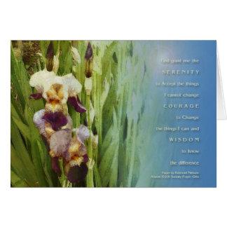 Jardín del iris del rezo de la serenidad tarjeta de felicitación