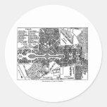 Jardín del mapa de Versalles Pegatina Redonda