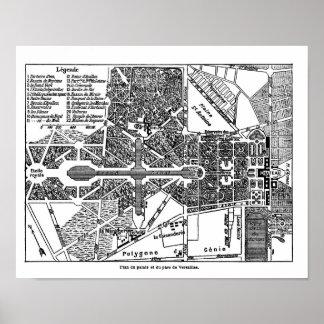 Jardín del mapa de Versalles Póster