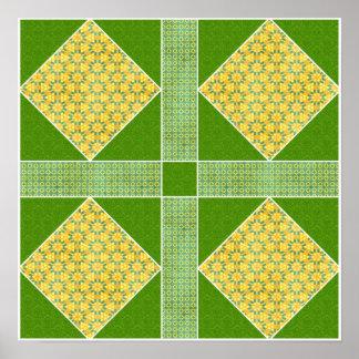 Jardín del oro cuadrado y del verde de Eden Poster