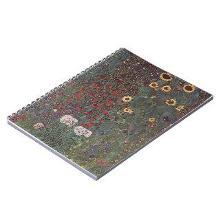 Jardín del país de Gustavo Klimt- con los girasole Libretas