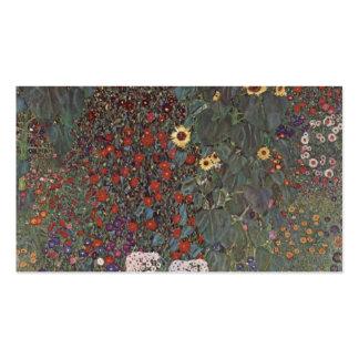 Jardín del país de Gustavo Klimt- con los girasole Plantillas De Tarjetas De Visita