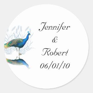 Jardín del pavo real en azul y blanco etiquetas redondas