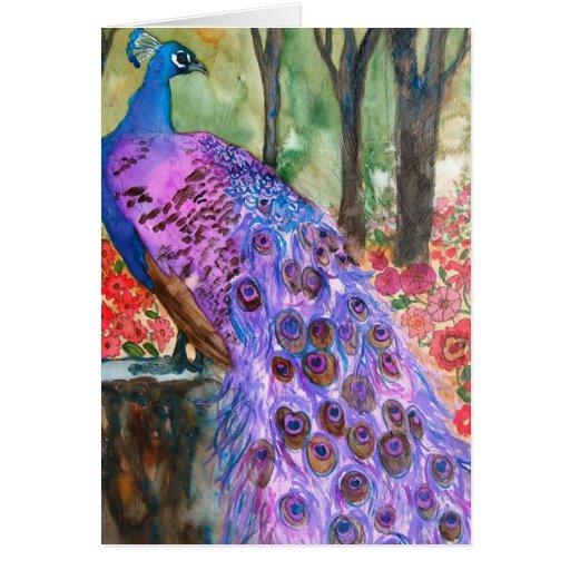Jardín del pavo real tarjeta de felicitación