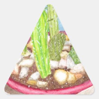 Jardín del plato pegatina triangular