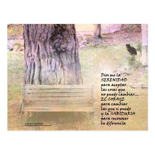 Jardín del rezo de la serenidad en español postal