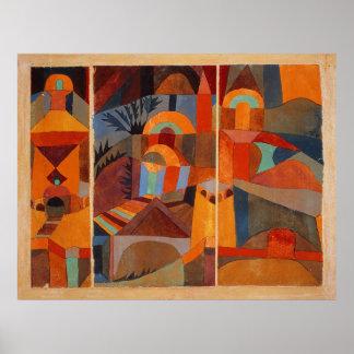 Jardín del templo de Paul Klee extraordinariamente Póster