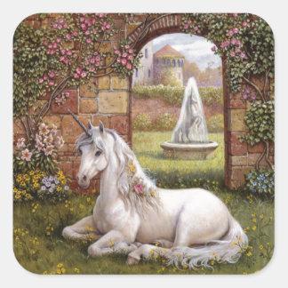 Jardín del unicornio calcomania cuadradas personalizada