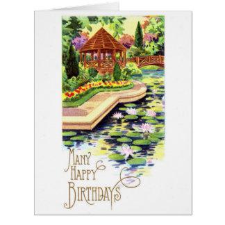 Jardín del verano del cumpleaños tarjeta de felicitación grande