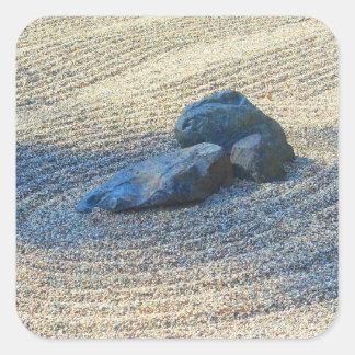 Jardín del zen pegatina cuadrada
