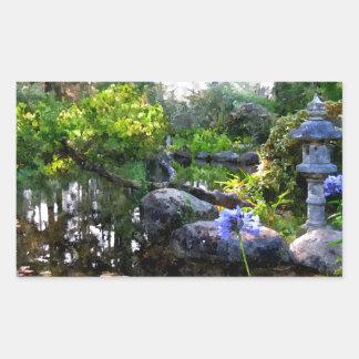 Jardín del zen pegatina rectangular