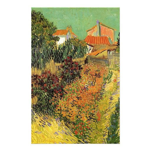 Jardín detrás de una casa.  Vincent van Gogh. Papelería