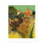 Jardín detrás de una casa.  Vincent van Gogh. Postales